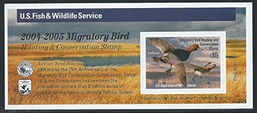 United States 2004, Scott #RW71A, $15.00 Readheads, Mint, Federal Duck, Migratory Bird Hunting and Conservation (Federal Migratory Bird Stamp)