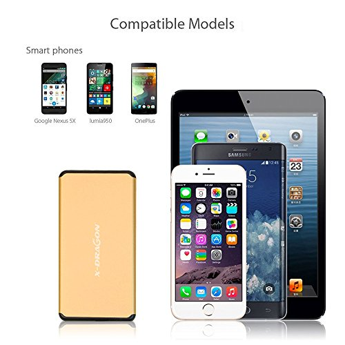 easily transportable Charger X DRAGON 5000mAh especially smal power Bank External Battery by methods of  2A advice swiftly Charging Pocket material Shell easily transportable Charger for iPhone 7 6 6S Plus iPad Samsung Galaxy smart telephones and Tablets Gold Chargers