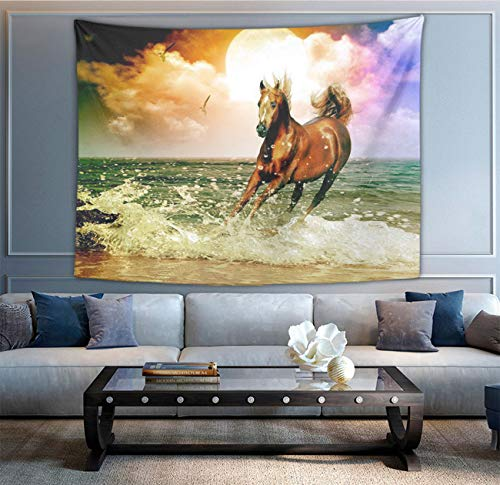 NiYoung Hippie Hippy Bedding Tapestry Sea Sun Running Wild Horse Art Abstract Tapestry Wall Hanging Tapestries for Dorm Room - Retro Art Dorm Accessories Mandala Room Tapestries]()