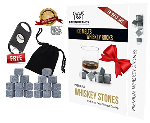 Whiskey Rocks Cooling Stones - FREE Guillotine Cigar Cutter With Stainless Steel Blade - Bonus Whiskey Recipes and Velvet Carry Bag - 18 Piece Christmas Gift Set (18)