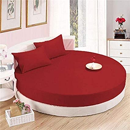 The Great American Store 1800 Series Brushed Microfiber Round Sheet Set  96u0026quot; Diameter Solid Burgundy