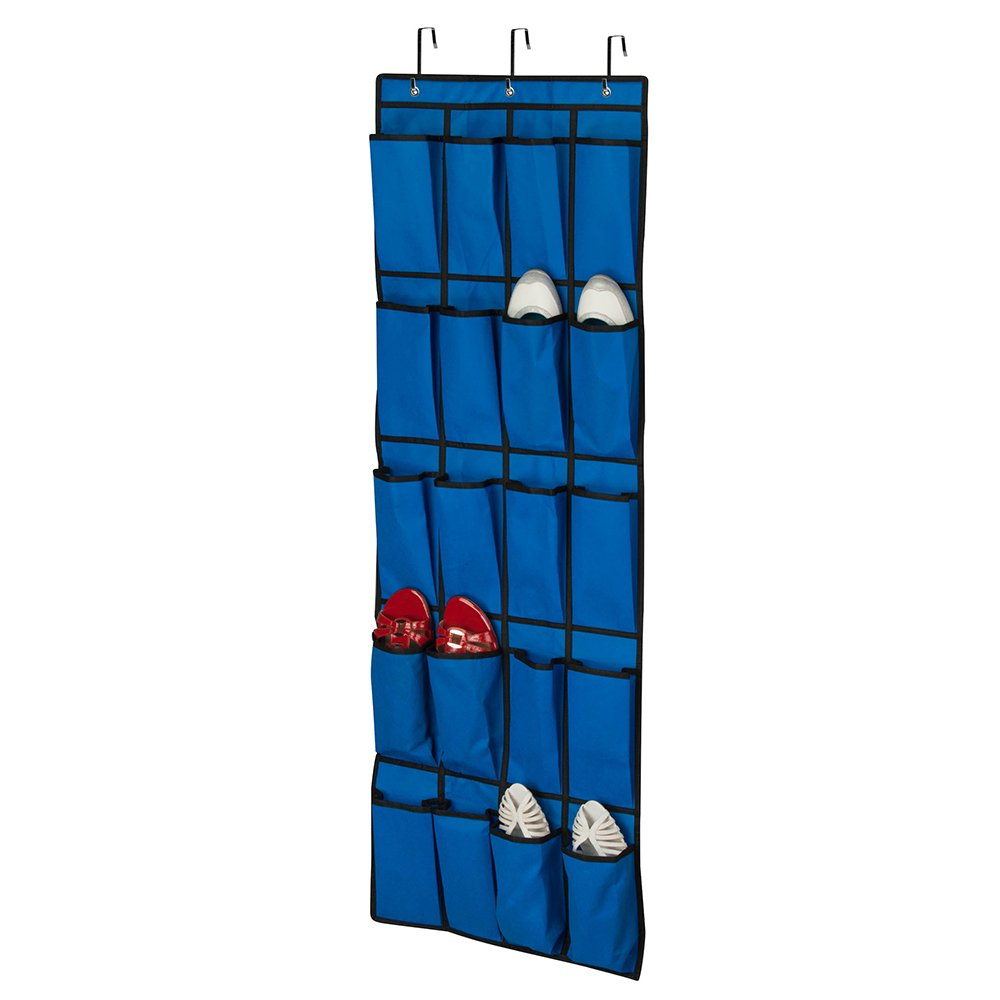 Campus Linens Over the Door Shoe Organizer for College Dorm Storage (Color Royal Blue)