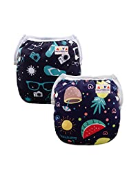 ALVABABY Swim Diapers Reuseable Washable 2 PCS One Size