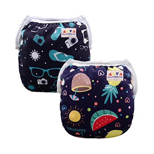 ALVABABY Swim Diapers Boys & Girls One Size Reuseable Adjustable 2pcs SW18-21