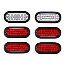 "4 RED + 2 WHITE 6"" Oval 24 Diodes Stop Brake Tail Backup Reverse Marker Lights for Truck Trailer 12V"