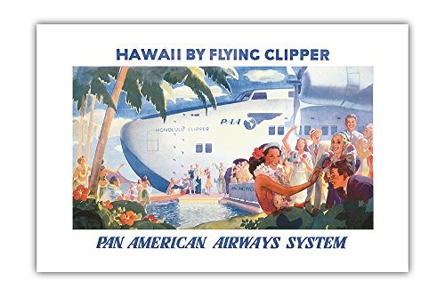Honolulu Clipper (Hawaii by Flying Clipper - Pan American Airways System (PAA) - Honolulu Clipper Boeing 314 - Vintage World Travel Poster by Paul George Lawler c.1940s - Premium 290gsm Giclée Art Print 24in x 36in)