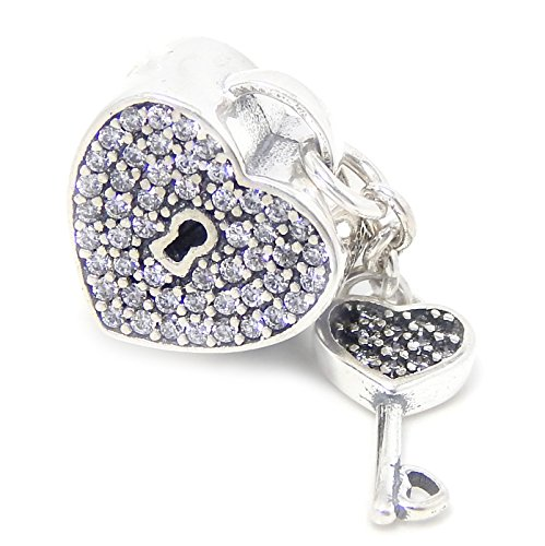 925 Sterling Silver Heart Shaped Lock with Dangling Key and Clear Crystals Charm Bead 544