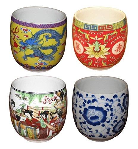 JapanBargain S-2649x4, Chinese Porcelain Teacup #15170, sets of 4
