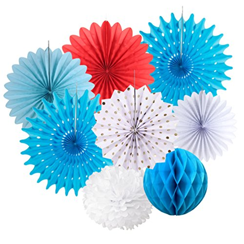 - Party Paper Fans Decoration Pom Poms Flowers Kit for Nautical Party Baby Shower Wedding Birthday Decoration SUNBEAUTY 8 Pieces (Red White Blue)