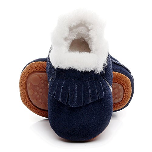 "Winter Suede Fleece Lined Rubber Soles Non Slip Warm Baby Boots Girls Boys Moccasins with Fur Hard Sole Baby Shoes (18-24m/5.71"", Dark Blue)"