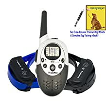 TrainPro 1100 Yard Dual Rechargeable Remote Control Dog Training and Bark Collars with Updated 2016 Crystal LCD. Safely Train Two Dogs at Same Time.