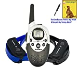 Dog Training Shock Electric e Collar for Dogs with Remote by TrainPro. NEW VERSION 3.0 for 2017. 1100 Yard Dual Rechargeable Safe Humane Vibration e-Collar. BONUS: Dog Whistle & eBook