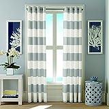 Grey and White Striped Curtains Nautica Cabana Stripe Drape Set, Light Gray
