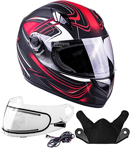 (Typhoon Helmets Adult Full Face Snowmobile Winter Helmet With Heated Face Shield DOT (Red, Large))
