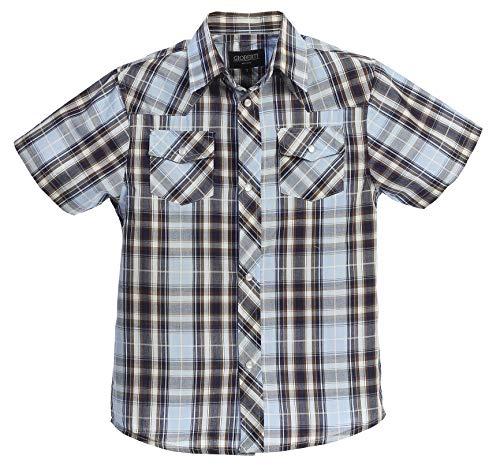 (Gioberti Boys Casual Western Plaid Pearl Snap Short Sleeve Shirt, Sky Blue/Navy : Size 8)