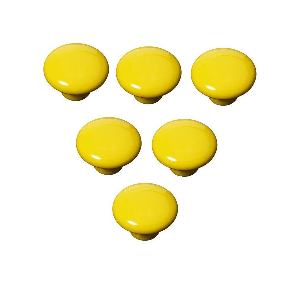 FatColo(TM) Ceramic Porcelain china Vintage Round Style Bedroom Door Cabinet Cupboard Drawer Knob Pull Handle (Button shape / Yellow / Pack of 6)