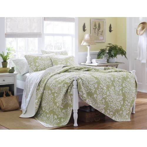 Cheap Laura Ashley Rowland Quilt Set, Full/Queen, Sage for sale