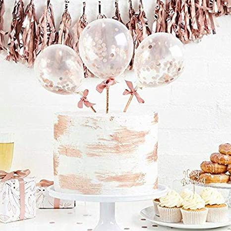 ROSE GOLD BALLOON CAKE TOPPER CONFETTI BABY PARTY BIRTHDAY ARCH GARLAND S0N5