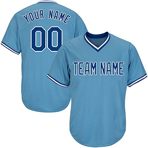 Custom Men's Light Blue V-Neck Replica Stripe Baseball Jersey with Embroidered Team Name and Numbers,Royal-White Size 3XL