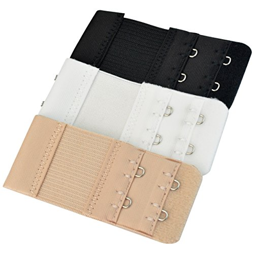 Bra Extender - Pistha 3 PCS Elastic Lingerie Extenders 2-Hooks 2 Rows  Extension Strap in Three Different Colors (Black 7035084bd