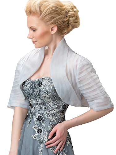 Women's Generous Mandarin CollarHalf Sleeves Evening Bridal Wedding Jacket Silver US16 by Tanpell
