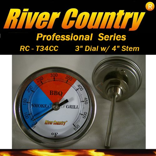 3'' River Country (RC-T34CC) Adjustable BBQ, Grill, Smoker Thermometer (50 to 550F)