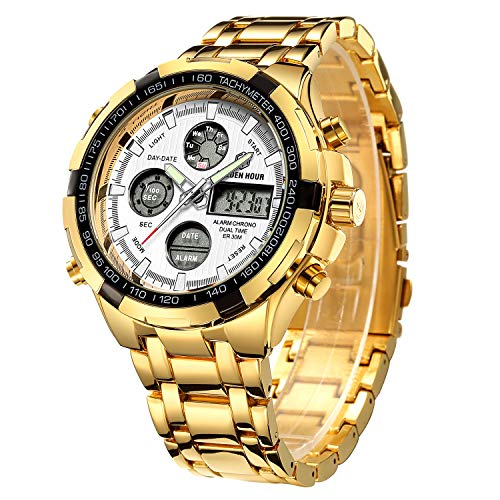 Affute Outdoor Sport Mens Led Digital Analog Quartz Watches Waterproof Stainless Steel Band Gold White
