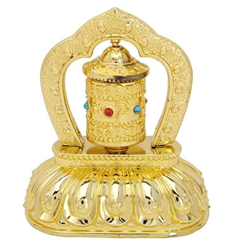 Buddhist Prayer Wheel (Tibetan Buddhist Symbols Om Mani Padme Hum MIni Size Solar Energy Powered Car Decoration Spinning Spiritual Prayer Wheel (Mani Wheel) (Simple Design, Gold))