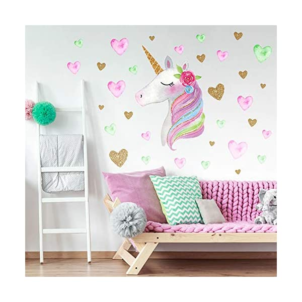 SONG'S IDEA Large Size Unicorn Wall Decal,2Packs,Unicorn Wall Sticker Decor with Hearts and Stars for Girls Rooms Baby… 6