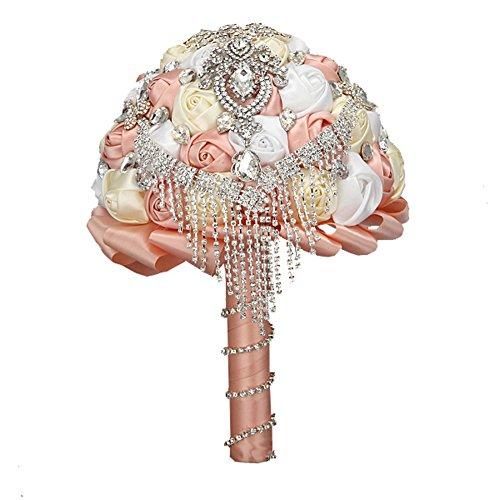 FAYBOX Handmade Rhinestone Brooch Stunning Tassel Wedding Bridal
