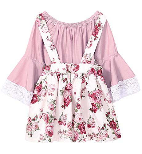 (Toddler Girls Pink Rose Floral Outfit Set Lace Ruffles Tops and Dress (Pink,)