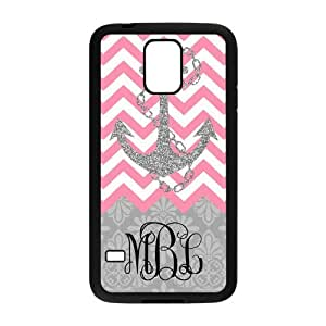 Hot Pink Chevron Gray Anchor Gray Retro Pattern Monogram Personalized Custom Phone Case Best Rubber and Plastic Cover For Samsung Galaxy S5