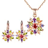 BAMOER 18K Rose Gold Plated Cubic Zirconia Snowflake Lever Back Earrings Necklace Set for Women Girls CZ Jewelry Set Rose Gold & Colorful CZ