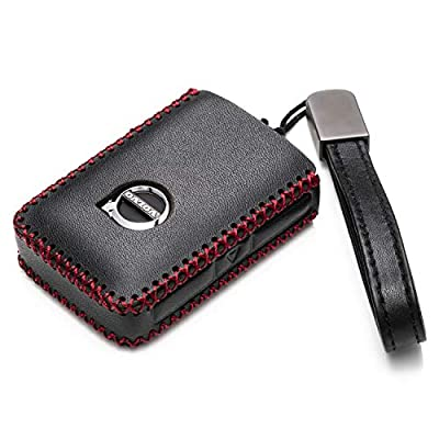 Vitodeco Genuine Leather Smart Key Fob Case Cover Protector with Leather Key Chain for 2020-2020 Volvo XC60, XC90, S90, V90 (4-Button, Black/Red): Automotive