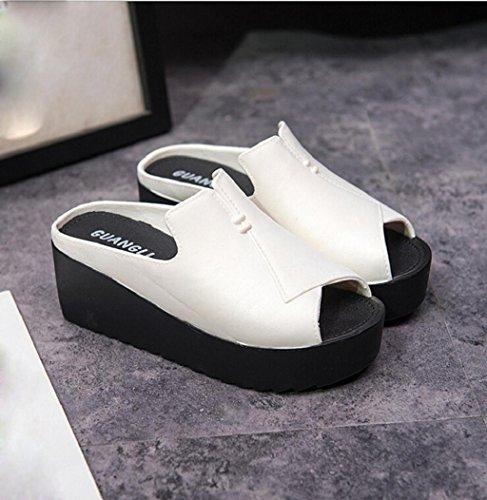 Sagton Women Sandals Peep-toe Thick Platform Flip Flops Wedge Heel Slippers High Heel Sandal White 9mVlBOk