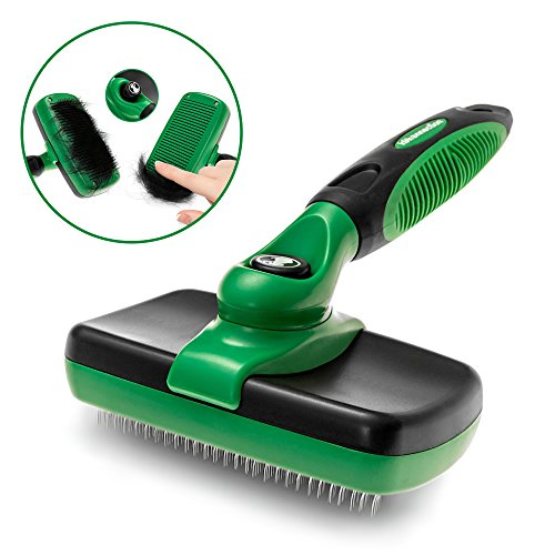 K9KONNECTION Self Cleaning Slicker Brush for Dogs and Cats - Professional Pet Grooming Tool Removes Dead Undercoat, Tangled Knots & Matted Fur - Safe Stainless Bristles - Best for Large & Small Pets (Anti Scratch Function Protects compare prices)