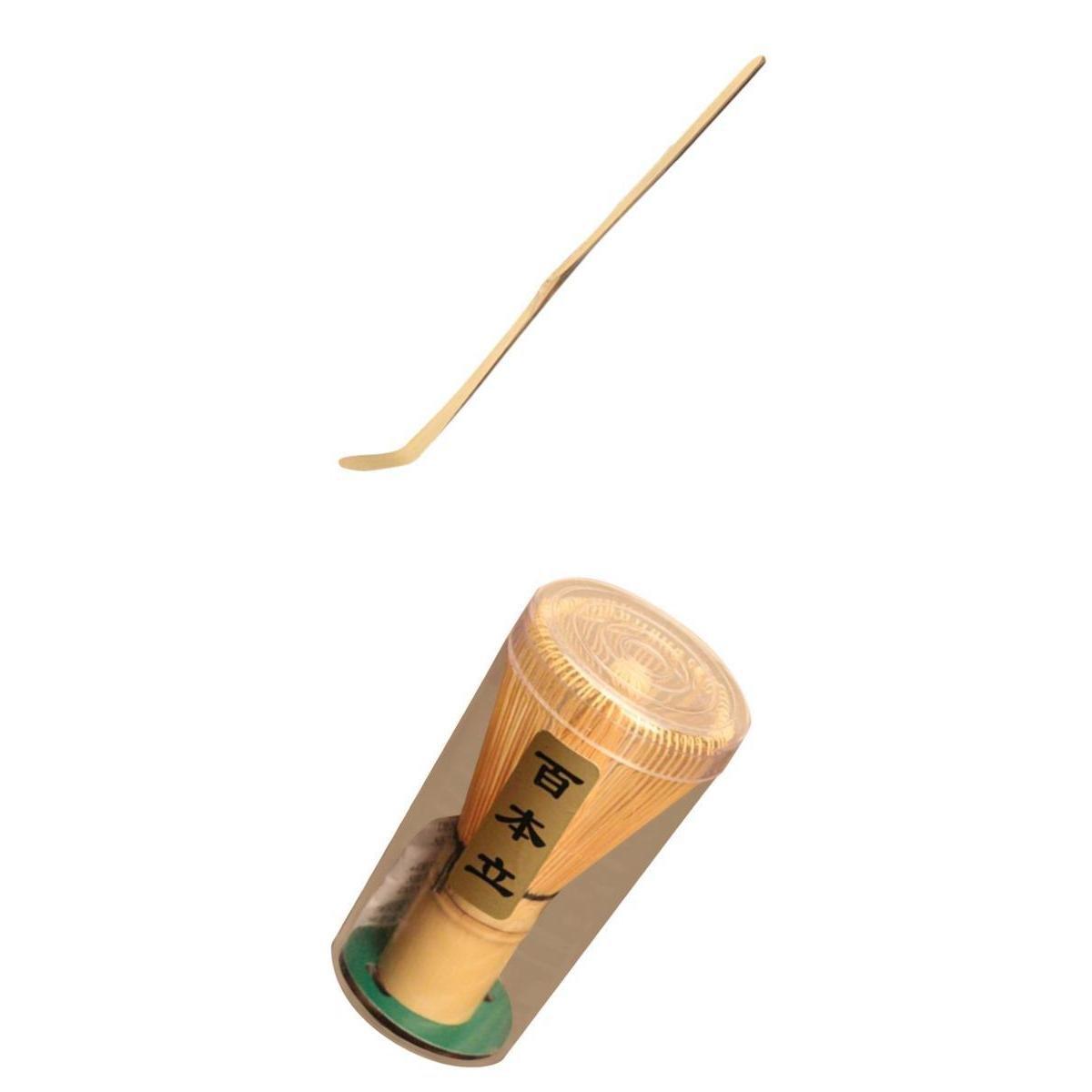 Blesiya Matcha Whisk and Matcha Scoop, Bamboo, Ceremonial, Green Tea Powder Set of 2