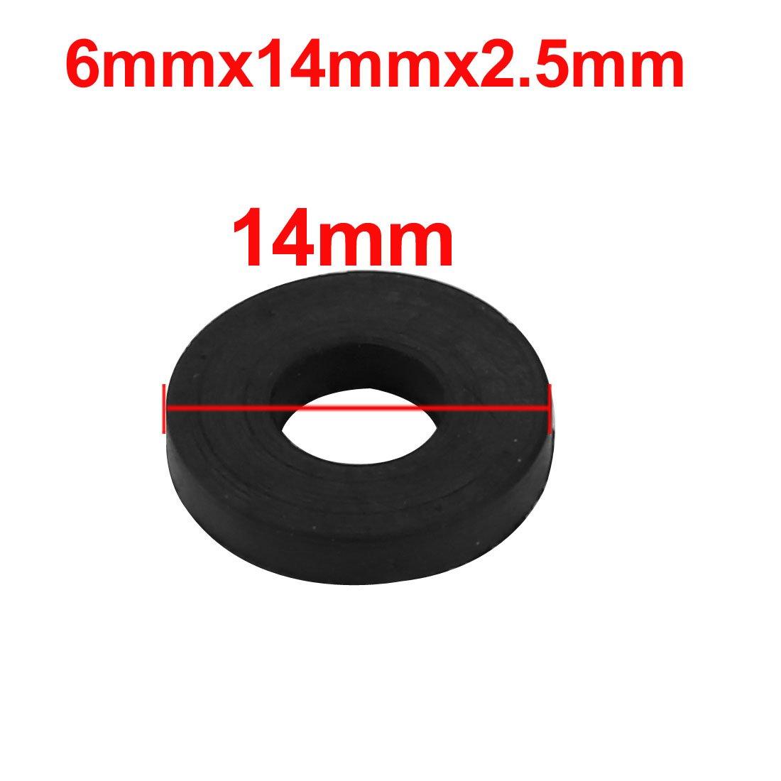 sourcing map 10pcs rondelle plate rond caoutchouc noir Assortiment taille 6x14x 2,5mm