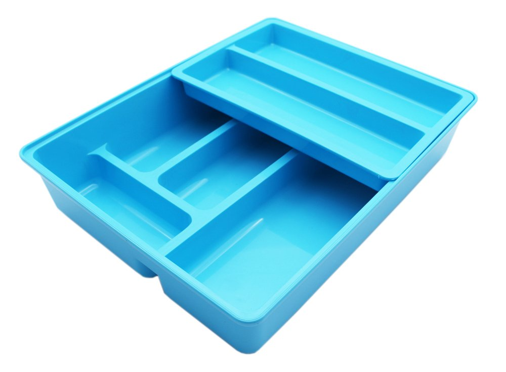 Mabalo Double Movable Cutlery Tray, 2 in 1 Large Cutlery Drawer Organizer Holder, 12 x 9.5 x 2.6, Colorful (Blue)