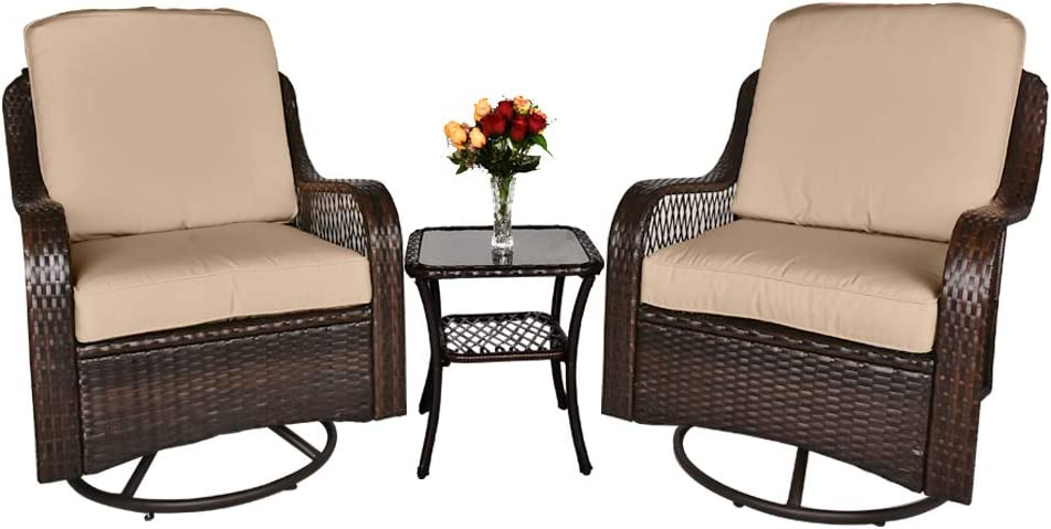 Action club 3-Pieces Patio Wicker Bistro Furniture Set with Cushioned Swivel Rocking Chairs Side Table Outdoor Rattan Conversation Set