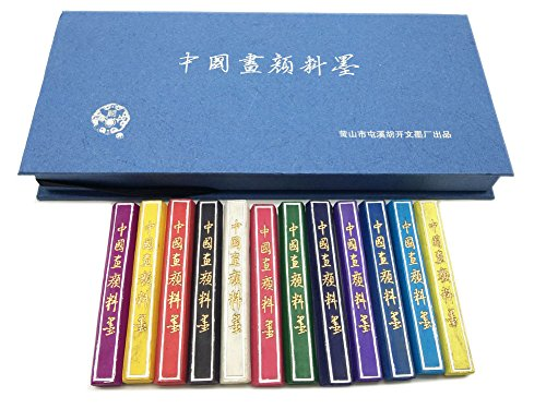 Hukaiwen Ink Block 6221603 Natural Mineral Inkstick for Japanese Chinese Traditional Calligraphy and Drawing, 12 Colors ()