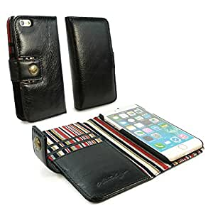 Personalised Alston Craig Vintage Genuine Leather Wallet Case Cover for Apple iPhone 8 - Black