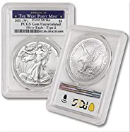 2021 (W) 1 oz American Silver Eagle Coin Gem Uncirculated (Type 2 - First Strike - Struck at West Point) by Co