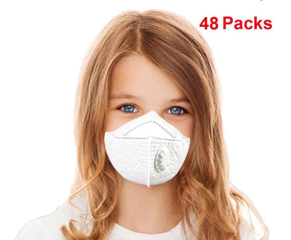 Kids Disposable Face Mask N95 Particulate Respirator Masks with Valve Child PM2.5 dust masks - NIOSH Certified - Anti-Pollution Dustproof Cycling for Outdoor Safety Multi-Layer Protection (48 Packs)
