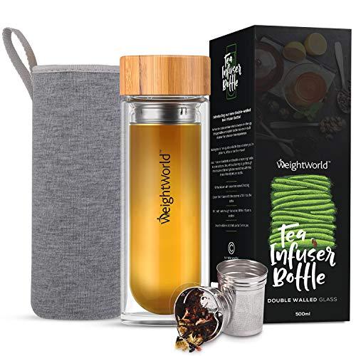Botella Termo para Infusiones de Te con Filtro de Agua | 500ml de Te | Doble Capa de Vidrio con Tapa de Bambu | Diseno Hermetico Portatil Sin BPA | Para su dieta Detox Adelgazante | WeightWorld