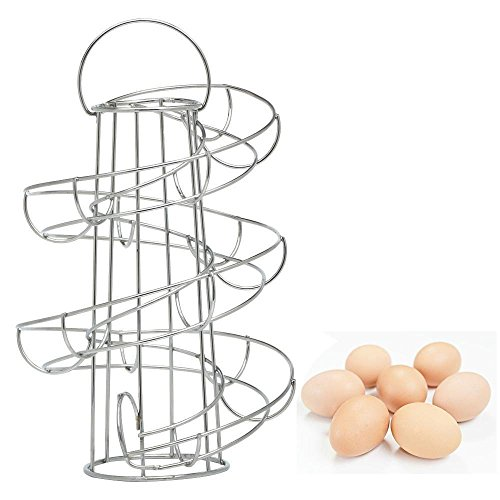Vencer Deluxe Modern Spiraling Design Metal Freestanding Egg Skelter / Dispenser Rack (Silver gray) VKO-002