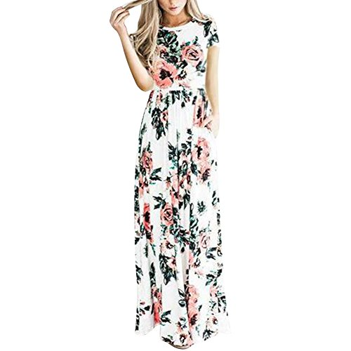 YUMDO Women's Short Sleeve Floral Printed Maxi Dresses Summer Dress with Pockets White S