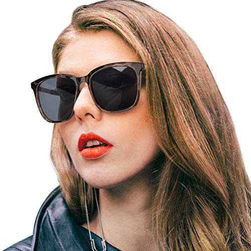 SIPHEW Womens Mirrored Sunglasses Polarized-Fashion Oversized Eyewear with UV400 Protection for Outdoor (Tortoise Frame, Black Non-mirrored Lens) ()