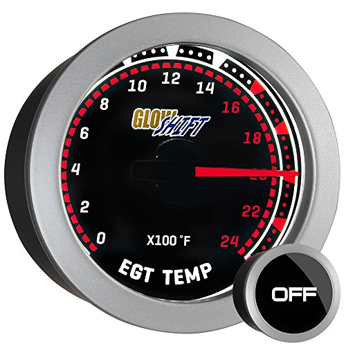 (GlowShift Tinted Series 2400 F Pyrometer Exhaust Gas Temperature EGT Gauge Kit - Includes Type K Probe - White LED Backlit - Smoked Lens - For Car & Truck - 2-1/16