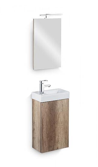 Galdem Bad Set CUBE Gäste WC Set Gästebad Badmöbel Waschbecken Unterschrank  Keramikwaschbecken Waschtisch Spiegel LED